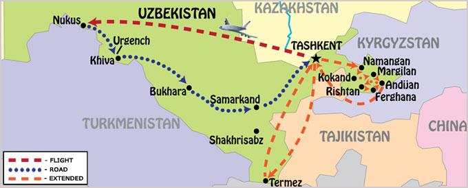 Map of Guaranteed Departure tour