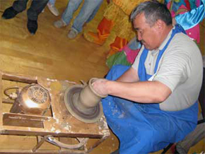 Master is making ceramics