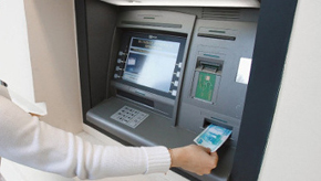 ATM machine at kazakh bank